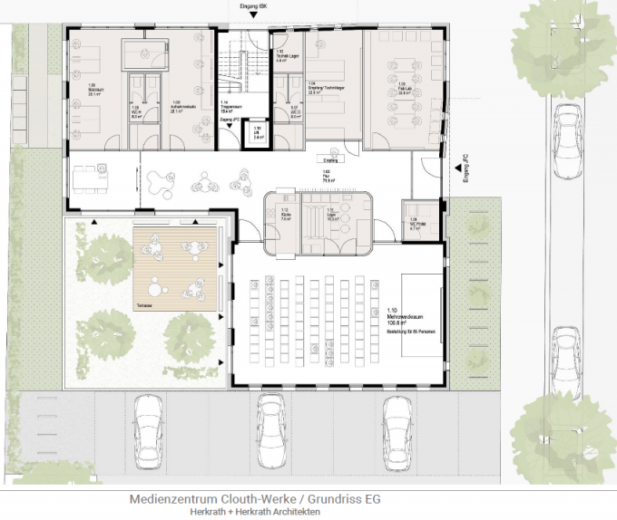 Neue Räume: Die Planung mit Veranstaltungsaal im Erdgeschoss.