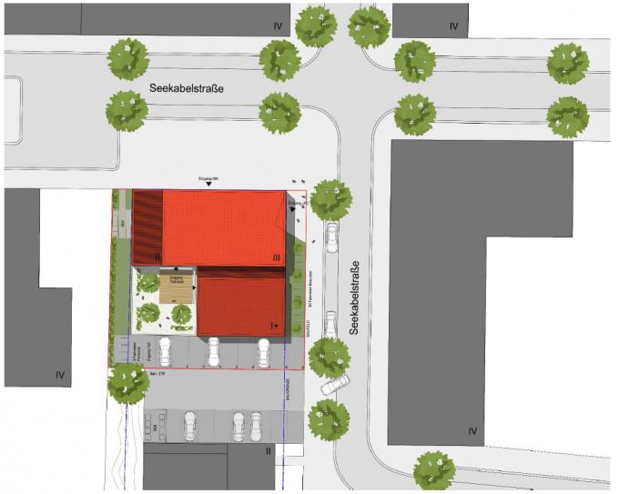 Neue Räume: Gebäude mit 3 Geschossen an der Seekabelstraße.
