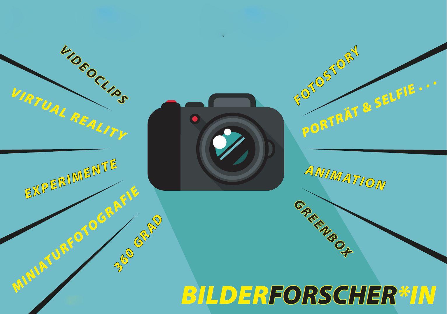 Flyer Bilderforscher: in der Mitte eine Kamera, darum sind Wörter angeordnet: Greenbox, Portraits, Videoclips, Virtual Reality